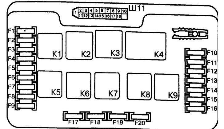 Схема гнезд электропроводки