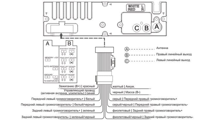 Схема подключения автомагнитолы Мистери