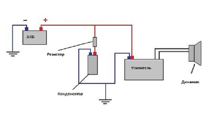 Электрическая схема коммутации конденсатора с усилителем