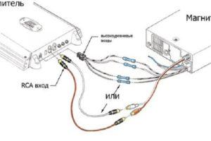 Как подключить два усилителя к магнитоле с 2 (1) RCA-выходами в авто и схема подсоединения