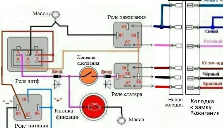 Схема подключения через кнопку