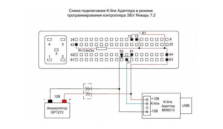 Схема подключения контроллера Январь
