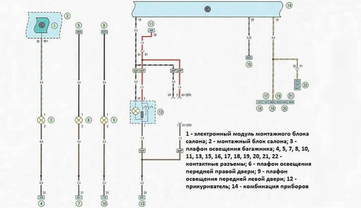 Схема подключения прикуриватель на машине Opel Astra H