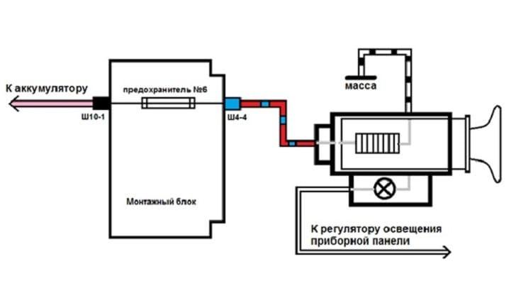 Схема подключения прикуривателя на машине Шевроле Нива