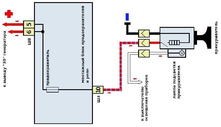 Схема подключения прикуривателя в машине ВАЗ-2115