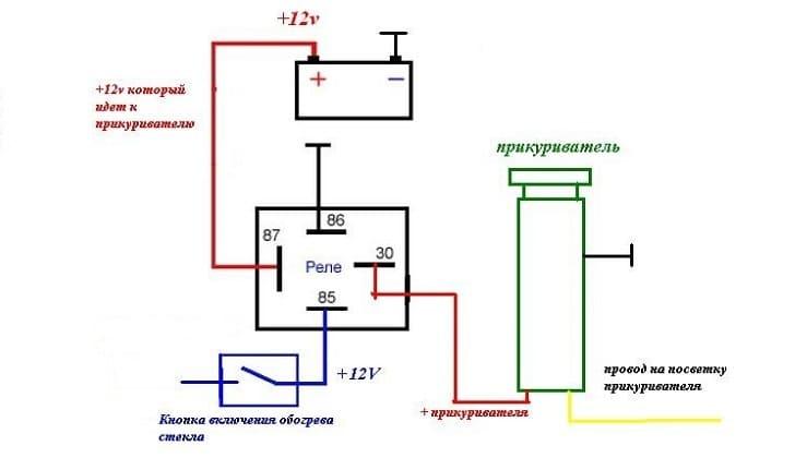 Схема работы прикуривателя в ВАЗ