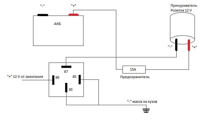 Электрическая схема цепи прикуривателя