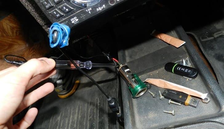 Обрыв проводки прикуривателя в авто