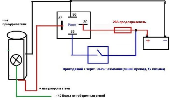 Схема подключения прикуриватель на ВАЗ-2114