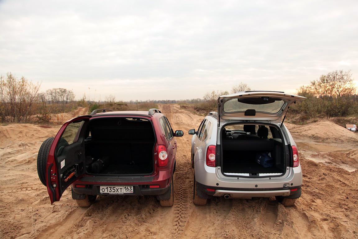 Вместимость богажника Renault Duster и Chevrolet Niva